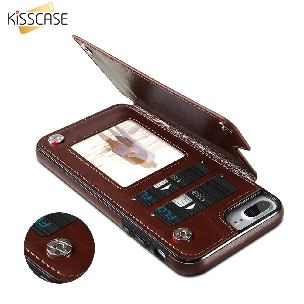 KISSCASE Retro PU Leather Case For iPhone 6 6s 7 Plus Card Holders Case Cover For iPhone 7 6 6s Plus Leather Wallet Case