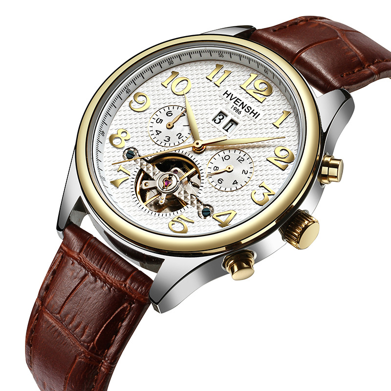 HVENSHI Skeleton Automatic Watch Men Waterproof Top Brand Mens Mechanical Watches Leather Calendar Rose Gold Reloj Hombre free shipping 5pcs lot mur1520 u1520 to220 2 ultrafast rectifiers new original