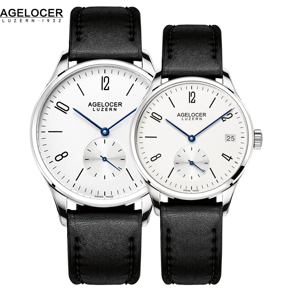 New Style AGELOCER Couple Watch High Quality Swiss Movements Clock With Leather Band Men Ladies Wrist