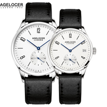 Nuevo estilo agelocer reloj de los pares, movimientos suizos de alta calidad los hombres y las señoras del reloj con banda de cuero reloj de pulsera montre homme