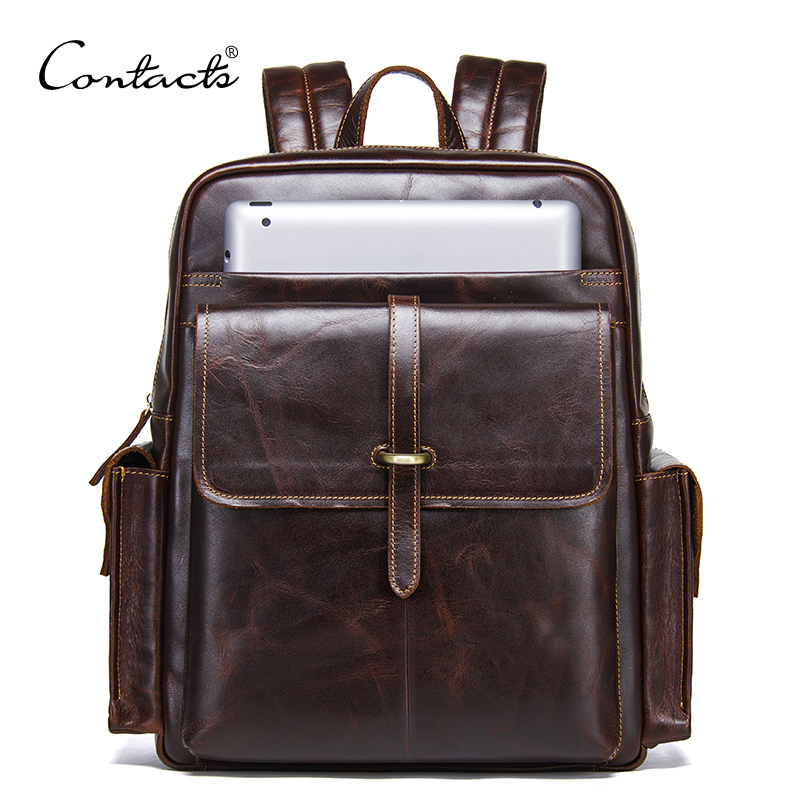 CONTACTS 100% cowhide leather mens backpack for 13 inch laptop genuine leather bagpack casual male daypacks large travel bagsCONTACTS 100% cowhide leather mens backpack for 13 inch laptop genuine leather bagpack casual male daypacks large travel bags