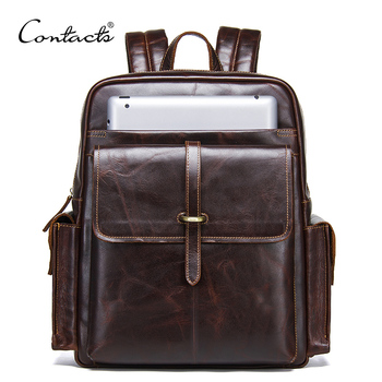 CONTACT'S 100% cowhide leather men's backpack for 13 inch laptop genuine leather bagpack casual male daypacks large travel bags brand padieoe genuine leather school bags for teenagers backpack new men travel casual cowhide laptop backpack free shipping