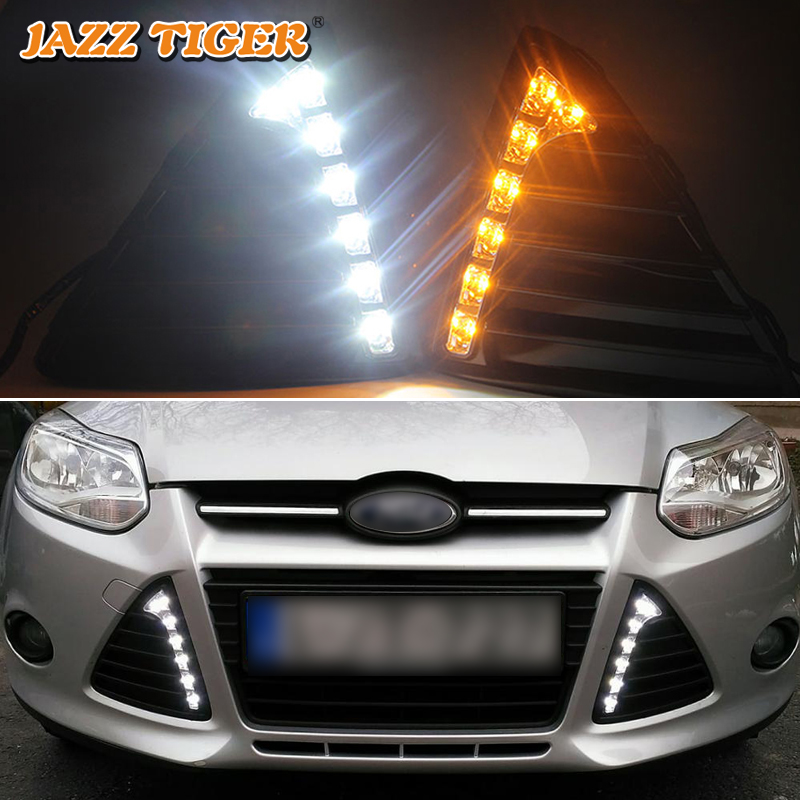 JAZZ TIGER Turn Yellow Signal Function Waterproof 12V Car LED DRL Lamp LED Daytime Running <font><b>Light</b></font> For <font><b>Ford</b></font> <font><b>Focus</b></font> 3 <font><b>2012</b></font> 2013 2014 image