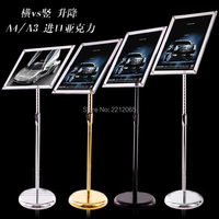 Floor Standing Adjustable Metal Menu Sign & Poster Holder Display Stand with Acrylic Picture&Signage Frames