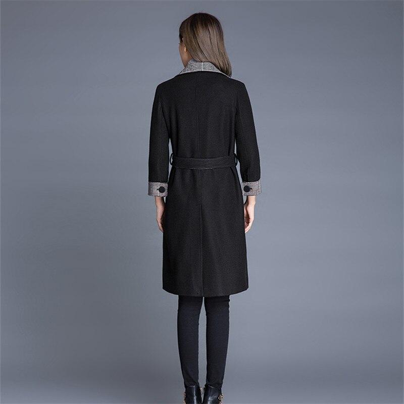 Garder black Hiver Chaud En Dames Vintage Surtout Femmes Ceinture Manteau Manteaux Élégant Grande Noir Colour Au Mince Caramel Taille Laine Veste Long 2018 qqxrOCEZBw