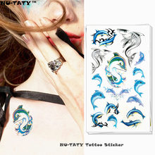 Nu-TATY Blue Dolphins Temporary Tattoo Body Art Arm Flash Tattoo Stickers 17x10cm Waterproof Fake Henna Painless Tattoo Sticker