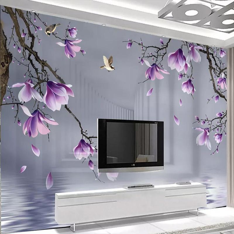 Custom Photo Wallpaper Modern 3D Magnolia Bird Flowers Space Murals Living Room TV Sofa Background Wall Paper For 3 D Home Decor