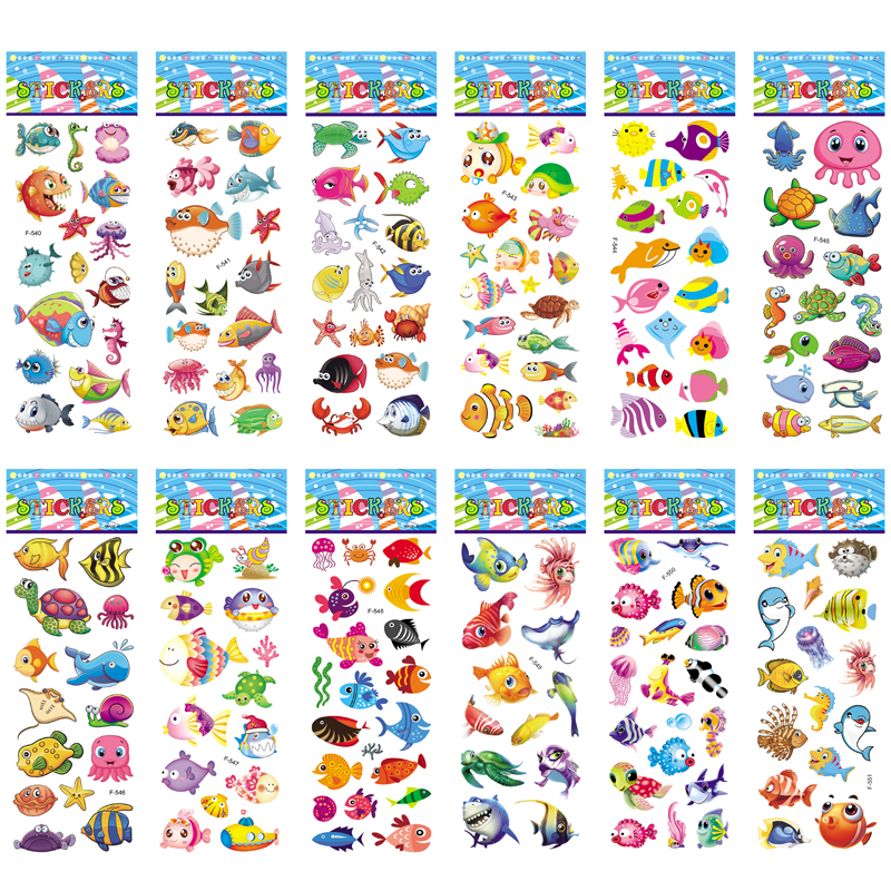 12 Sheets/pack Kids Stickers Toy Creative Cute Seabed Animals Fishes PVC Sticker for DIY Scrapbooking Diary Phone Stickers 1