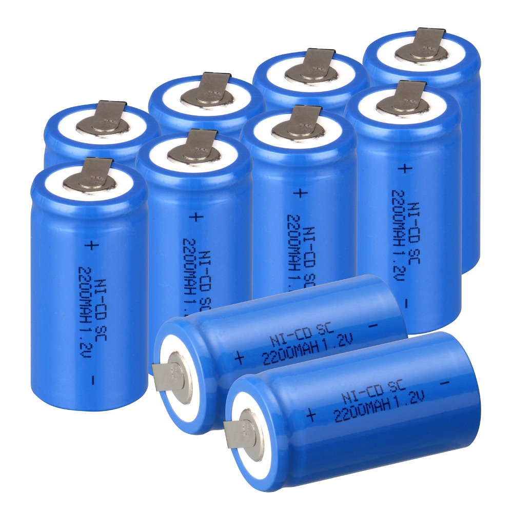 High quality ! 10 PCS Sub C SC battery rechargeable battery 1.2V 2200mAh Ni-Cd Ni-Cd Battery Blue Batteries -4.25*2.2cm