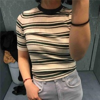 Summer Vintage Striped O Neck T Shirt Silk Women 2018 Runway Designed Short Sleeve T Shirt Knitting Tee Tops Elastic Clothing