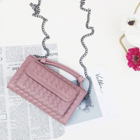 2018 New Fashion Women Clutch Wallets Knitting PU Leather Chain Shoulder Bag Long Purse Female Women's Wallet For Girls 159