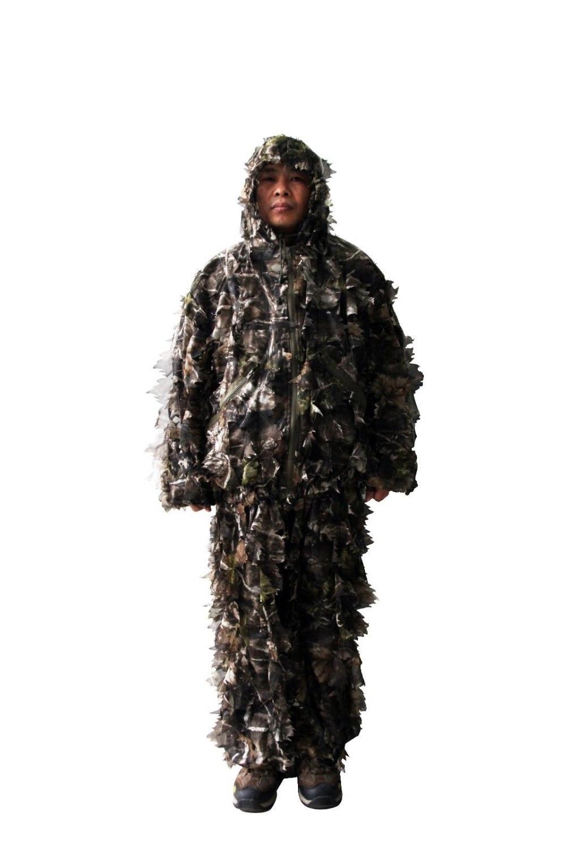 цена на Ghillie Suit Woodland Camo Hunting Camouflage 3D Premium Hunting Camo Shirt + pants +1 bag