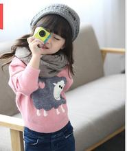 New Style Casual O-Neck Pullover Knit Sweaters For Girl  Long Sleeve Printted Character Bottoming knit sweater S056