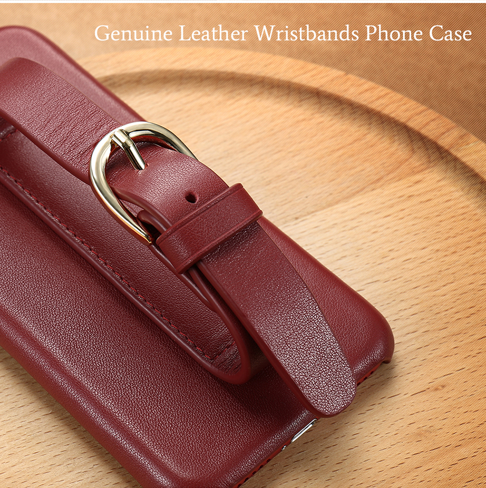 CASESHIP Genuine Leather Case For iPhone 6 6S 7 7 Plus Cover Smooth Touch Cowhide Wristband Back Cover For iPhone 6 7 Holsters (4)