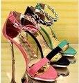 W - бесплатная доставка 2016 корейский новый летний женщин на высоких каблуках сандалии женские / дамы сексуальная сеть ну вечеринку туфли на высоком каблуке zapatos mujer