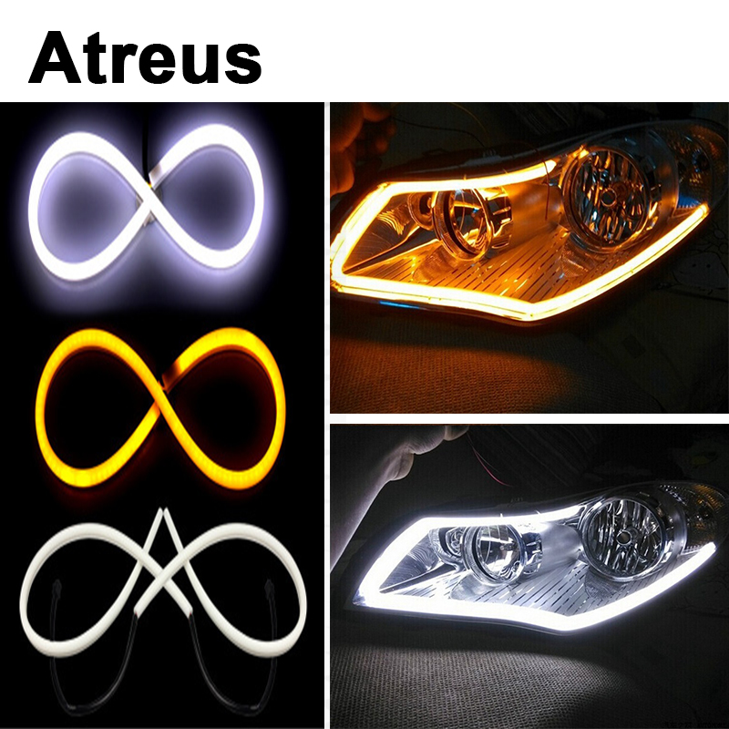 Atreus For Lexus Honda Civic Opel astra h j Mazda 3 6 Kia Rio Ceed Volvo 60CM Flexible Car LED Daytime Running Light DRL Lamp for opel astra h gtc 2005 15 h11 wiring harness sockets wire connector switch 2 fog lights drl front bumper 5d lens led lamp