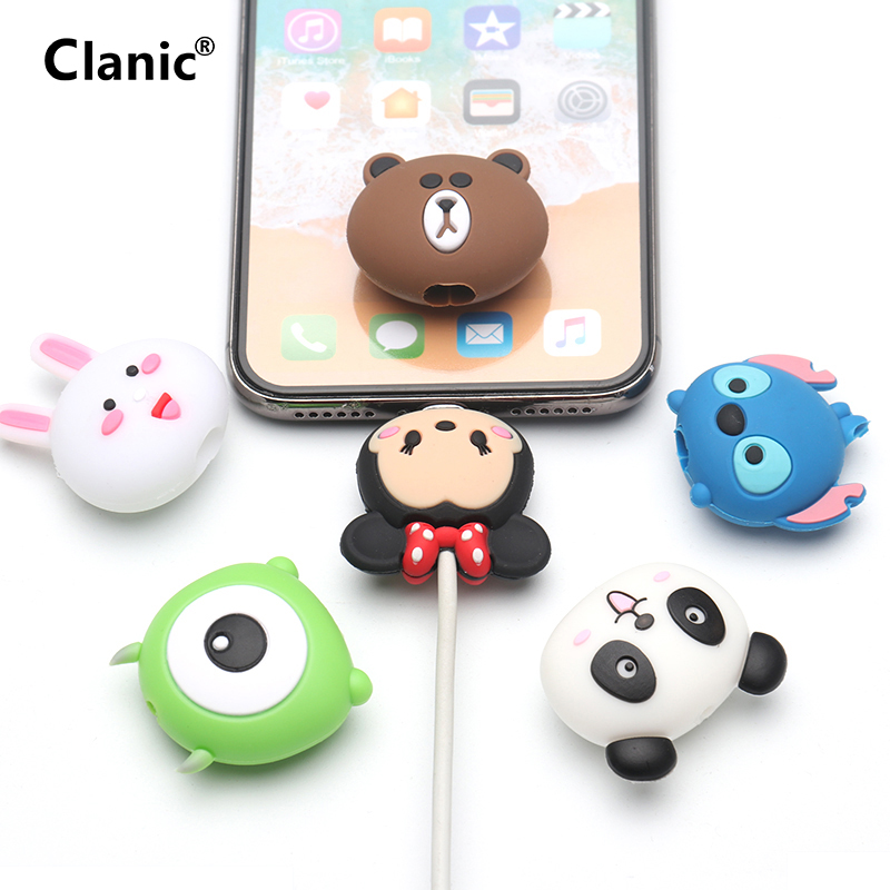 Cute Cartoon Animal Cable Protector For Iphone Usb Cable Bite Chompers Holder Charger Wire Organizer Phone Accessories