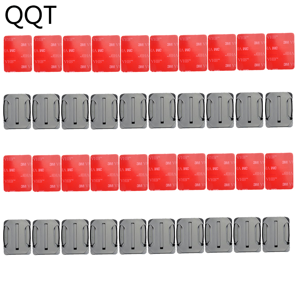 QQT 40 pcs / set 20 pcs Curved Surface Mount Base + 20 pcs 3 M Adhesive For Gopro Hero 6 5 4 3 + for Xiaomi Yi for SJ4000 GT14-3 pannovo curved pc mount w 3m adhesive sticker set for gopro hero 4 2 3 3 sj4000 2 pcs