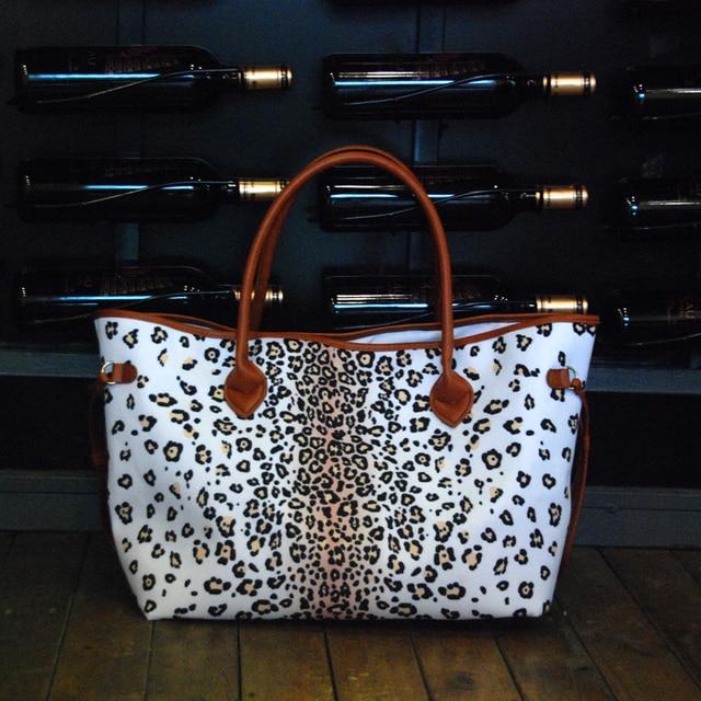 dbdac962dbec Women White Ground Leopard Tote Bag Handbag Leopard Print Canvas Fashion  Tote Bag Large Shopping Bag DOM874