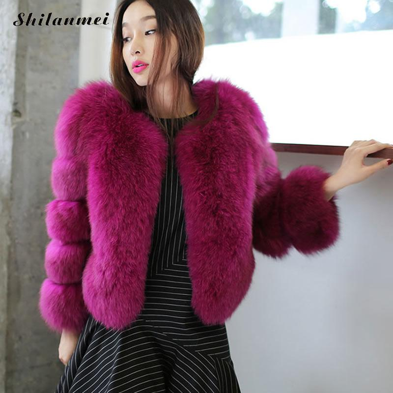 2018 New Winter Coat Women Luxury Faux Fox Fur Coat Purple Pink Gray Slim Faux Fur Jacket Women Fake Fur Coats Gilet Outerwear