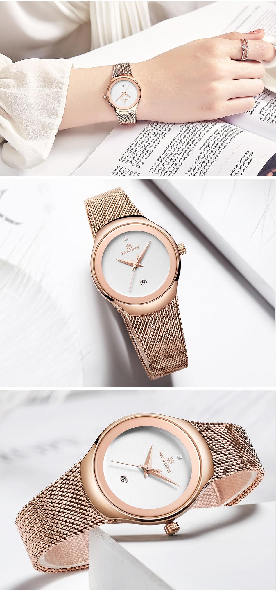 NAVIFORCE Top Luxury Brand Women Watches Female Fashion Simple Quartz Watch Ladies Classic Stainless Steel Mesh Belt Wrist Watch 10