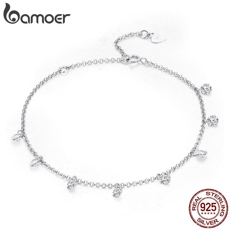 BAMOER 925 Sterling Silver Simple Geometric Crystal CZ Link Chain Bracelets Bangles for Women Authentic Silver Innrech Market.com