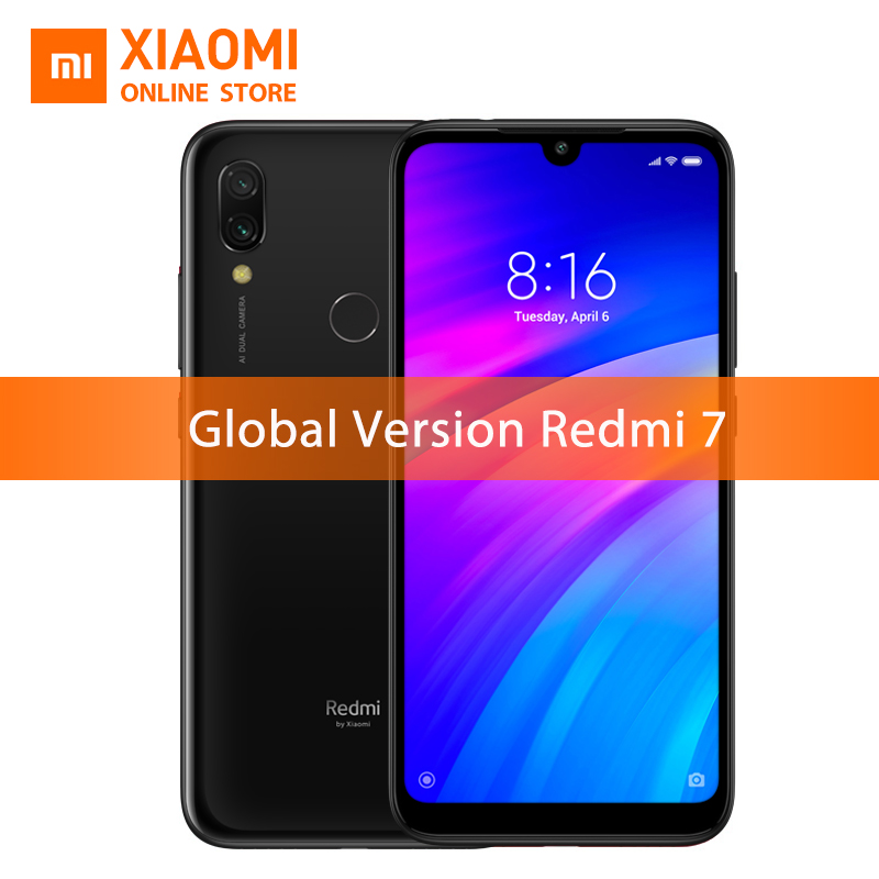 "Global Version Xiaomi Redmi 7 2GB 16GB Snapdragon 632 Smartphone Octa Core 4000mAh 6.26"" Phone Full screen 12+2MP Dual Camera"