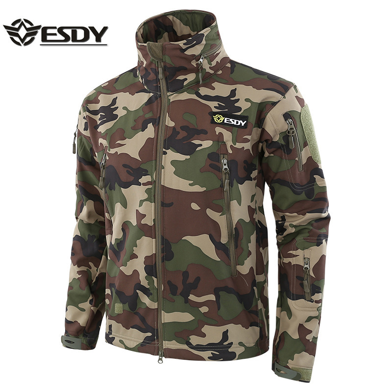Hot Sale Tactical Shark Skin SoftShell Camouflage Military Jacket Outdoors Camping Waterproof Clothes Sports Training Coat