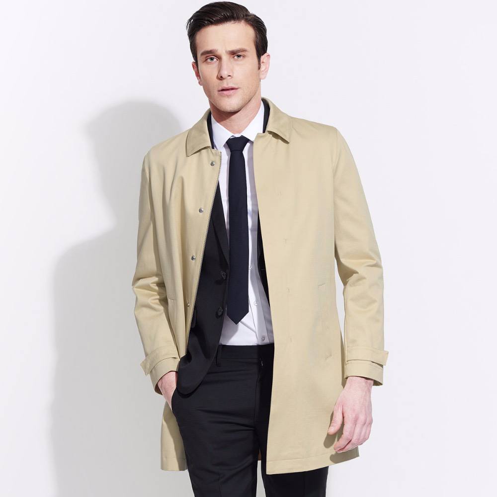 brand men clothing 2018fashion spring 100%Cotton men long black   trench   coat zipper single breasted men overcoat jacket business