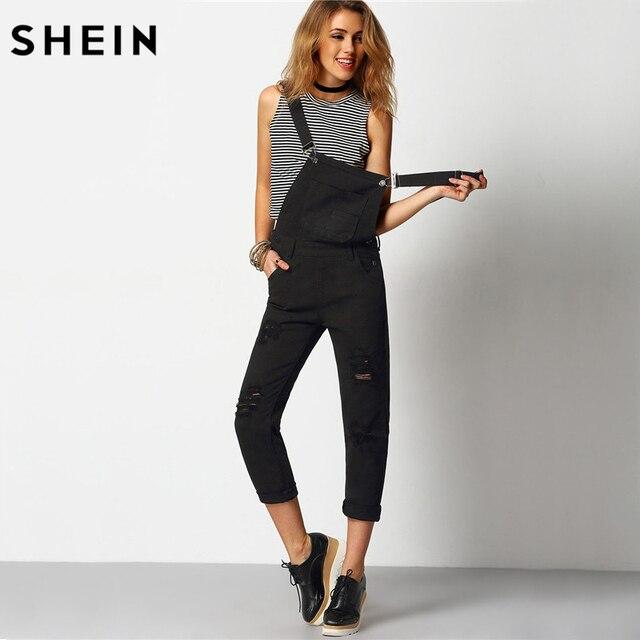 Jeans Herbst Länge Overalls Us18 99shein Shein Overall In 2016 Voller Taschen Frühling Jeansriemen Denim Gerissen Frauen Schwarz QdthxrsC