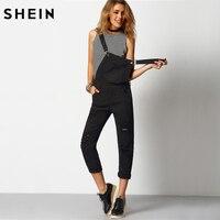 Womens Sleeveless Strap Pockets Spring Best Quality Fashion Latest Slim Fitness Black Strap Ripped Pockets Denim
