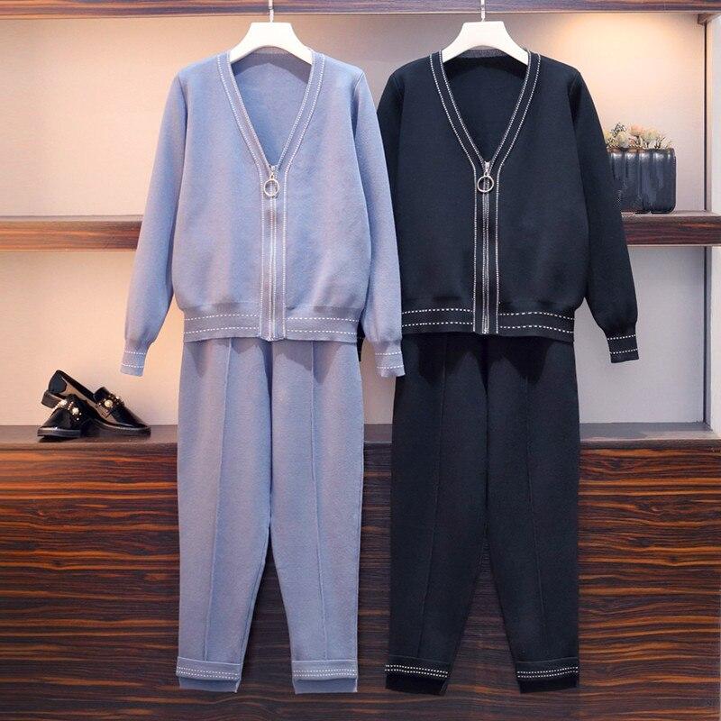 HAMALIEL M-4XL Plus Size Women Sweater Skirt Suits 2019 Spring Zipper Knitted 2PCS Track Suits + Elastic Waist Trousers Suits
