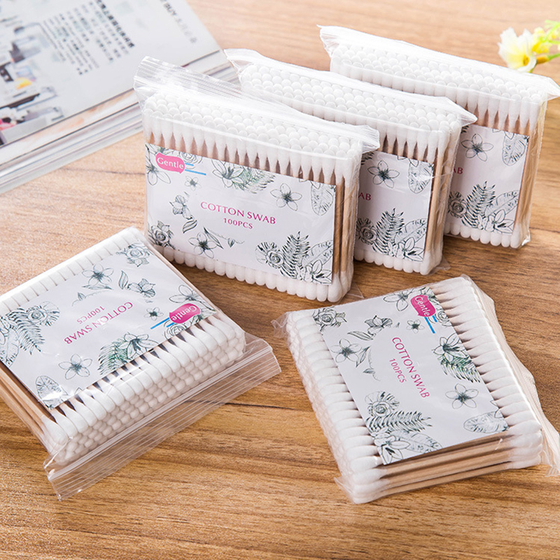 500pcs/lot Multifunctional Women Makeup Double Head Cotton Swab Cotton Medical Wooden Handle Sticks Ears Care Cleaning Tools