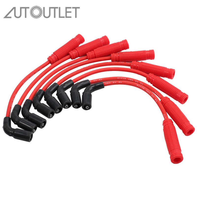AUTOUTLET 8 Pcs for Red Spark Plug Wires Set For Chevy Silverado GMC Sierra Yukon TRUCK 1500 1999-2013