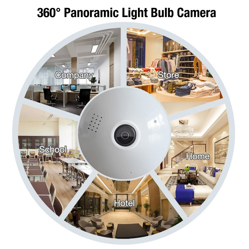 10pcs 1080P Light Bulb Wireless IP 360 degree Camera 2MP Wi-Fi Panoramic Lamp use HD FishEye lens good for Home Security