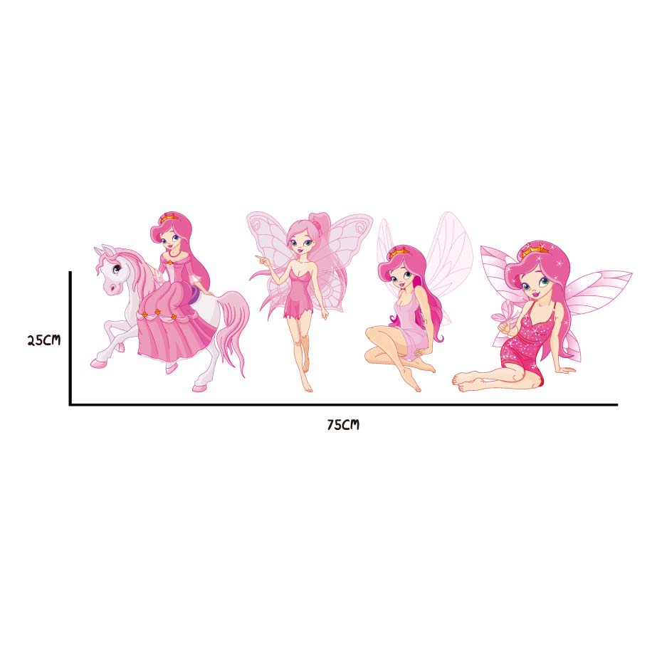 Fairy Princess Batterfly Wall Decals For Girls Baby Bedroom Vinyl Wall Sticker Home Decor Removable Wallpaper For Christmas Gift (5)