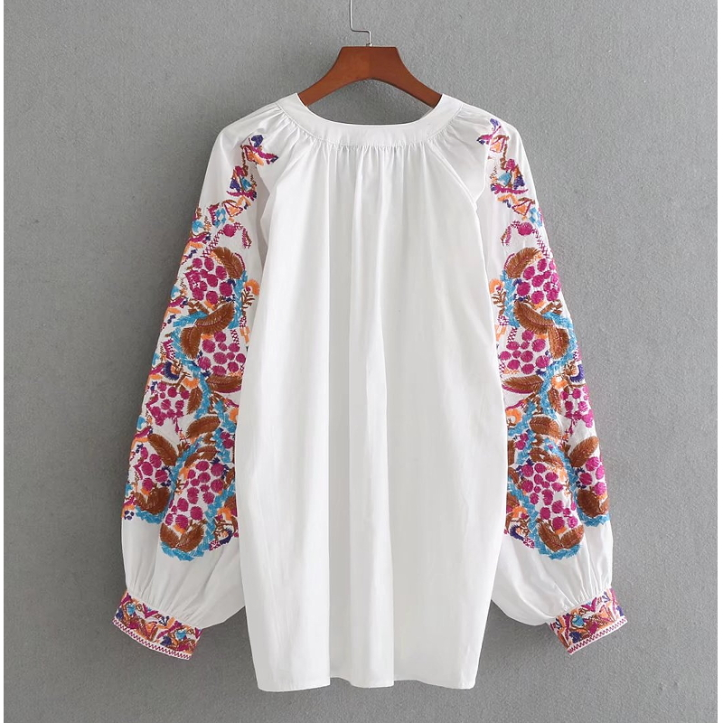 Estilo Tótem Manga 2018 Mujeres Flores Retro Ls1801 Camiseta Blusas Bordado Vintage Nacional Femininas Blusa De Tops As Chic Pic Casual XqIE1I