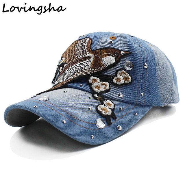 Lovingsha Floral Baseball Cap Snapback Summer Cap Spring Rhinestones Cap  For Girl Fitted Cap Women Wholesale 4f249bbeb5f3