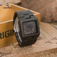 BOBO BIRD Timepieces Bamboo Wooden Men Watches Top Luxury Brand Rectan