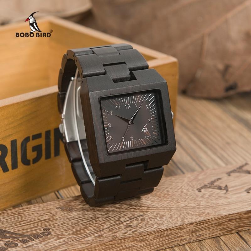 BOBO VOGEL Uhren Bambus Holz Männer Uhren Top Luxusmarke Rechteck Design Holz Band Uhr für männer