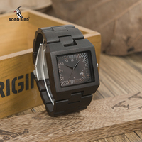 BOBOBIRD L23 Nature Ebonywooden Mens Watches Top Luxury Brand Rectangle Design And Wooden Band Watch Silver