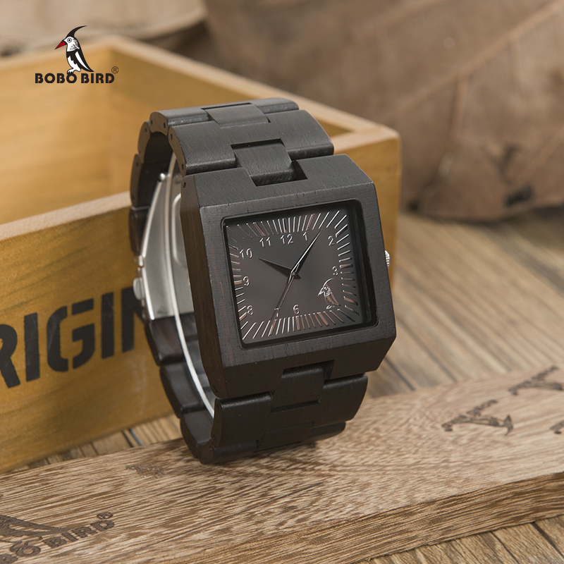 BOBO BIRD Timepieces Bamboo Wooden Men Watches Top Luxury Brand Rectangle Design Wood title=