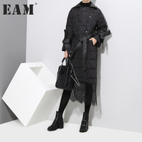 EAM 2018 New Spring Lapel Long Sleeve Solid Color Black Lace Split Joint Cotton Padded