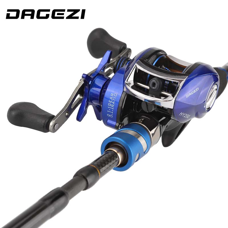 DAGEZI Lure Fishing Rod Combo Baitcasting reel Fishing wheel lure Rod combo 1 8m 2 1m