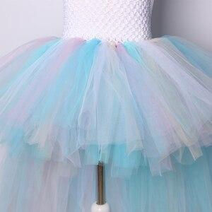 Image 5 - Пастельное Радужное платье пачка с единорогом для девочек, платье на день рождения с повязкой на голову, детское платье принцессы на Хэллоуин, костюмы