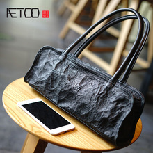 AETOO New simple retro handbag, washed folds cowhide arts black Shoulder Bag