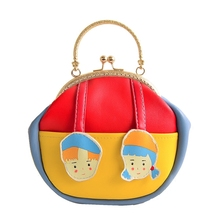 Childlike boy and girl doll bag Clutch PU Leather Designer Handbags Kawaii girls messenger bolsa adorable girl phone bag