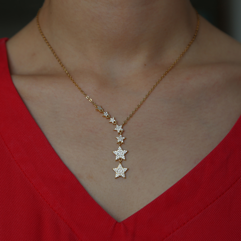Sdzstone Silver Gold Color Cute Danity 7pcs Star Charm Pendant Necklace 2018 Christmas Gift Delicate Chain Star Necklace