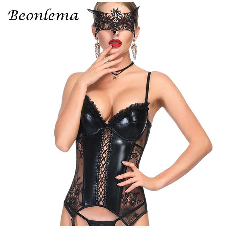 Beonlema Sexy   Corset   Lingerie Women Faux Leather Gothic   Bustiers   Black Overbust   Corset   See Through Lace Korse Erotic   Corsets   2XL