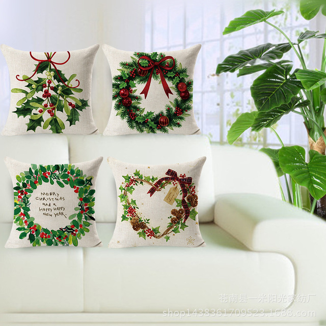 Decorative throw pillows cover case merry christmas decorations